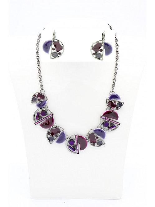 Parure collier et boucles d'oreilles en émaux violet