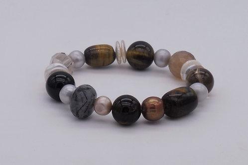 Bracelet en oeil de tigre, perle eau douce, quartz divers