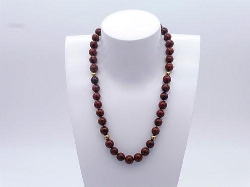 Collier en obsidienne brune