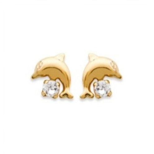 Puce plaqué or dauphin avec oxyde de zirconium