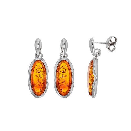 Boucles d'oreilles en ambre et argent