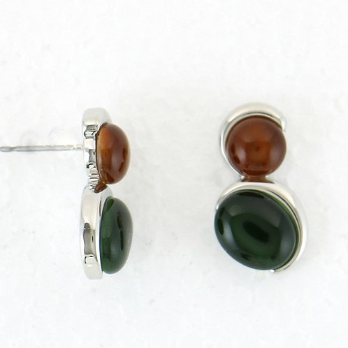 Boucles d'oreille bicolore brun et vert