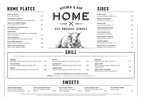 Menu for Home kitchen and bar