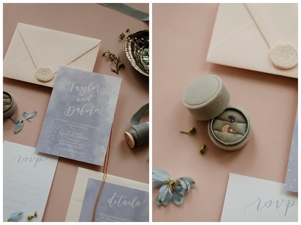 pastel wedding invitation and moon themed rings flatlay