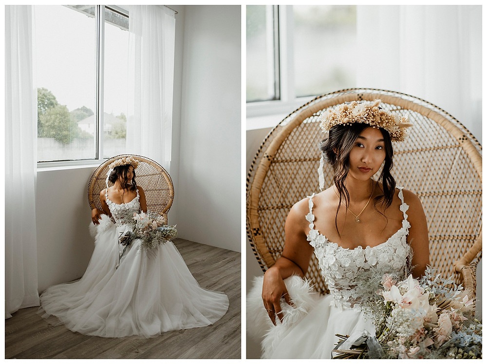 bride in dried floral crown and peacock chair