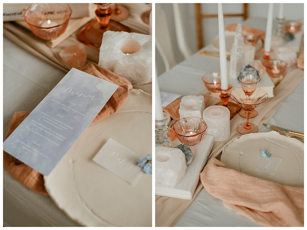 pastel blue menu, plant-dyed linens, and pink depression glass tablescape