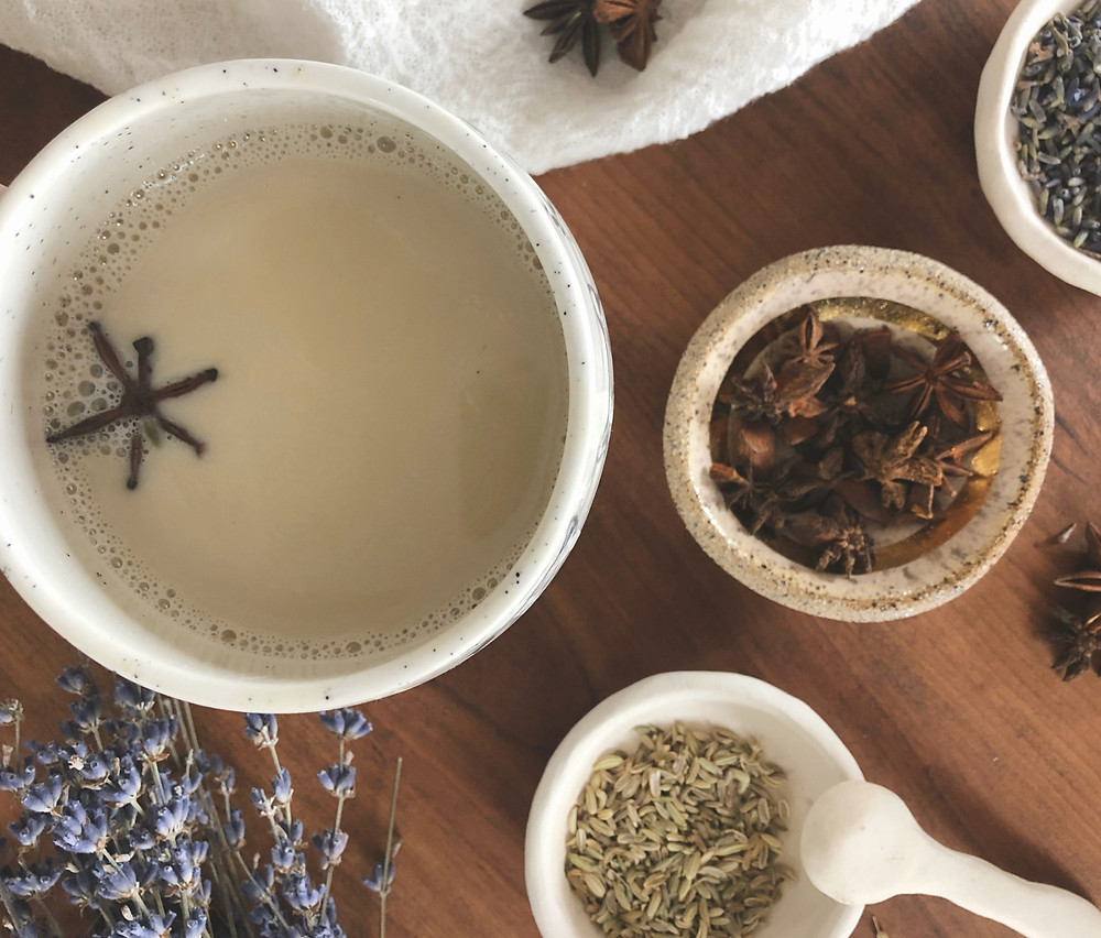 recipe for mercury retrograde plant based milk with medicinal and magick herbs lavender reishi fennel and star anise