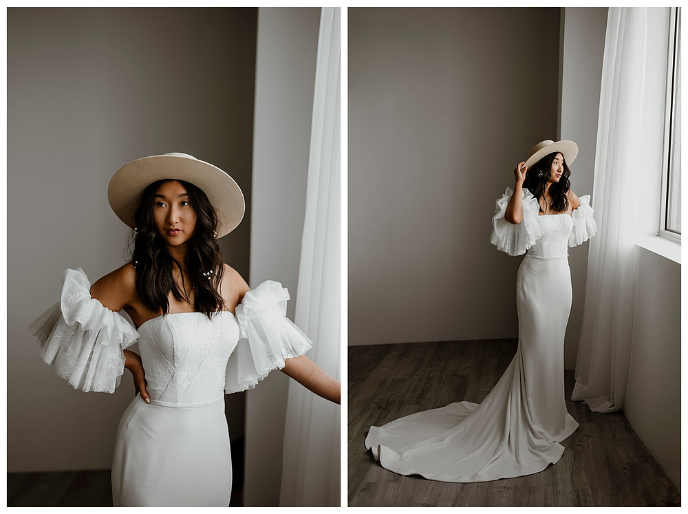 modern bride in Emmy Mae Bridal and Lack of Color hat