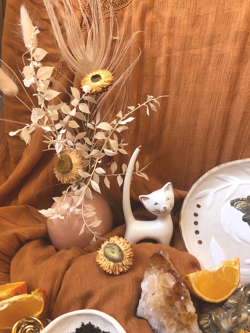 ceramic cat, dish, floral bouquet, citrine, floral and citrus offerings for full moon ritual