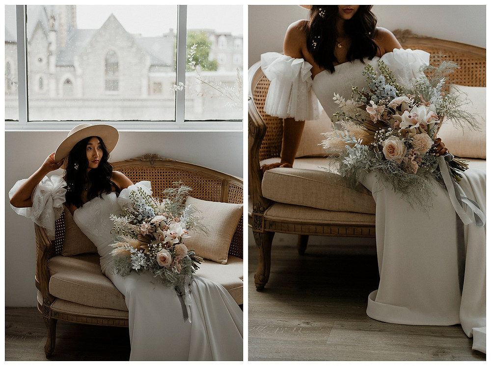 bohemian bride on vintage couch with fluffy pastel flowers