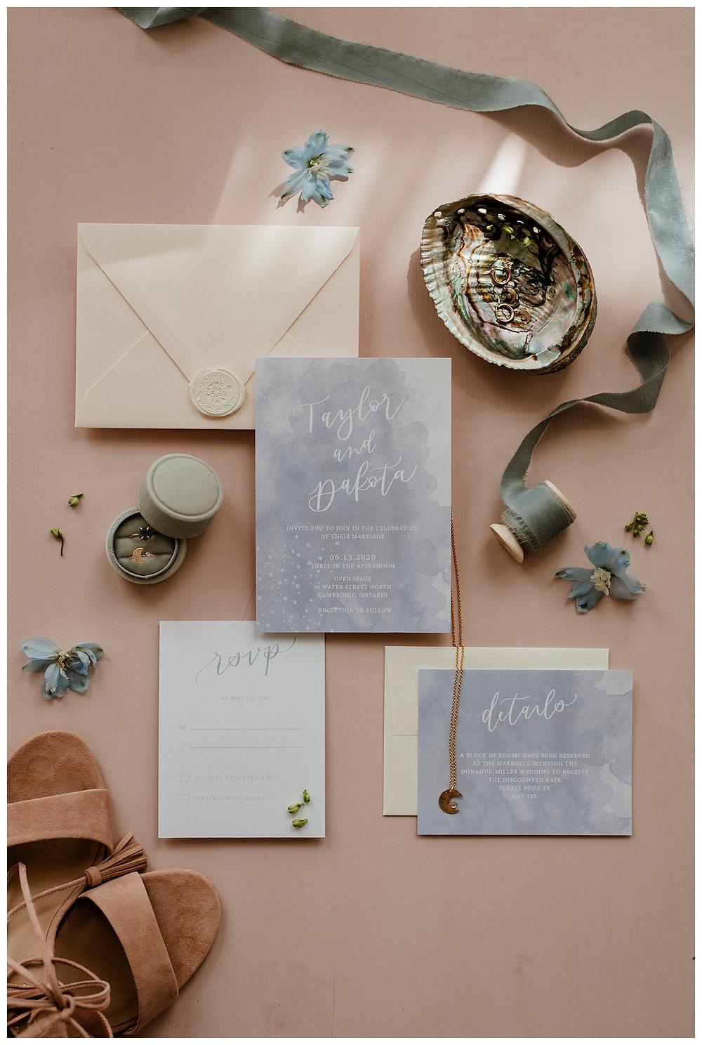 pastel blue wedding invitation