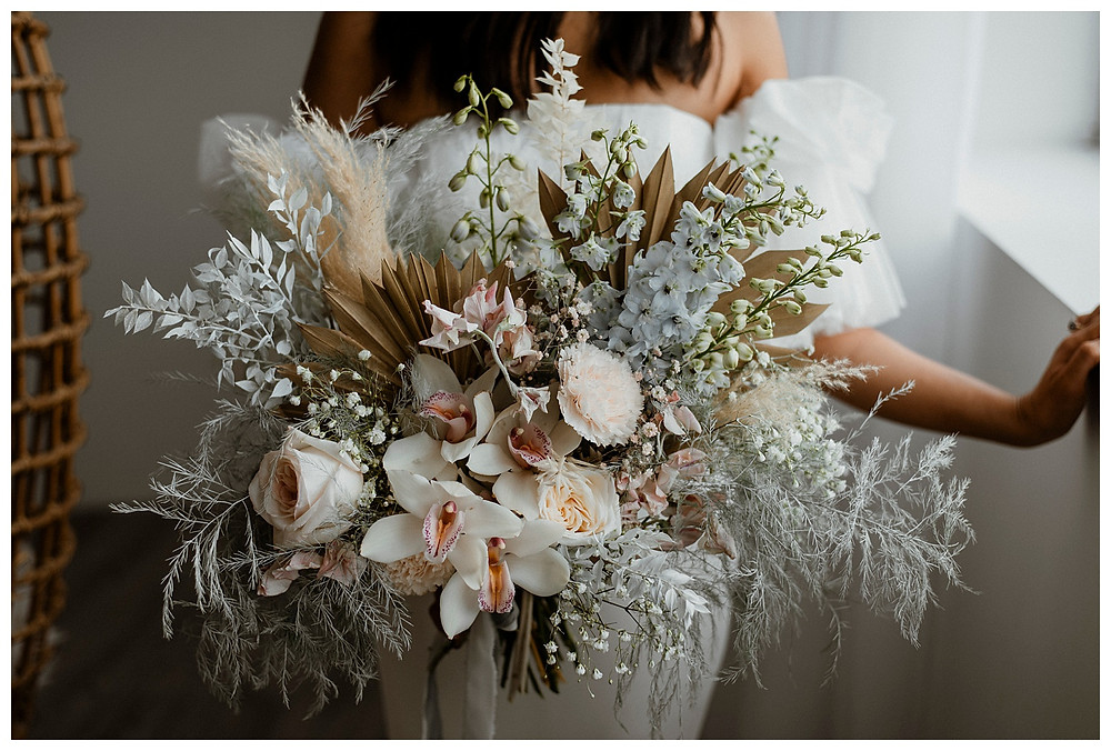 fluffy dried and fresh pastel bridal bouquet