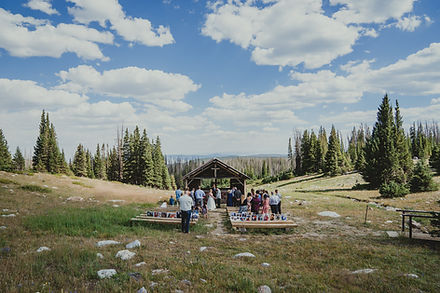 St. Albans Chapel wedding venue in the Snowy Range  Medicine bow national forest Wyoming