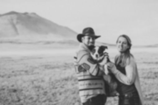 Photographers Sara and Adam with their dog Nori in Laramie Wyoming