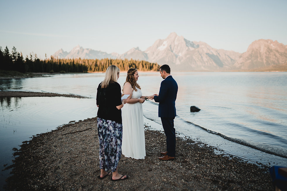 Vow exchange during an elopement in Grand Teton National Park