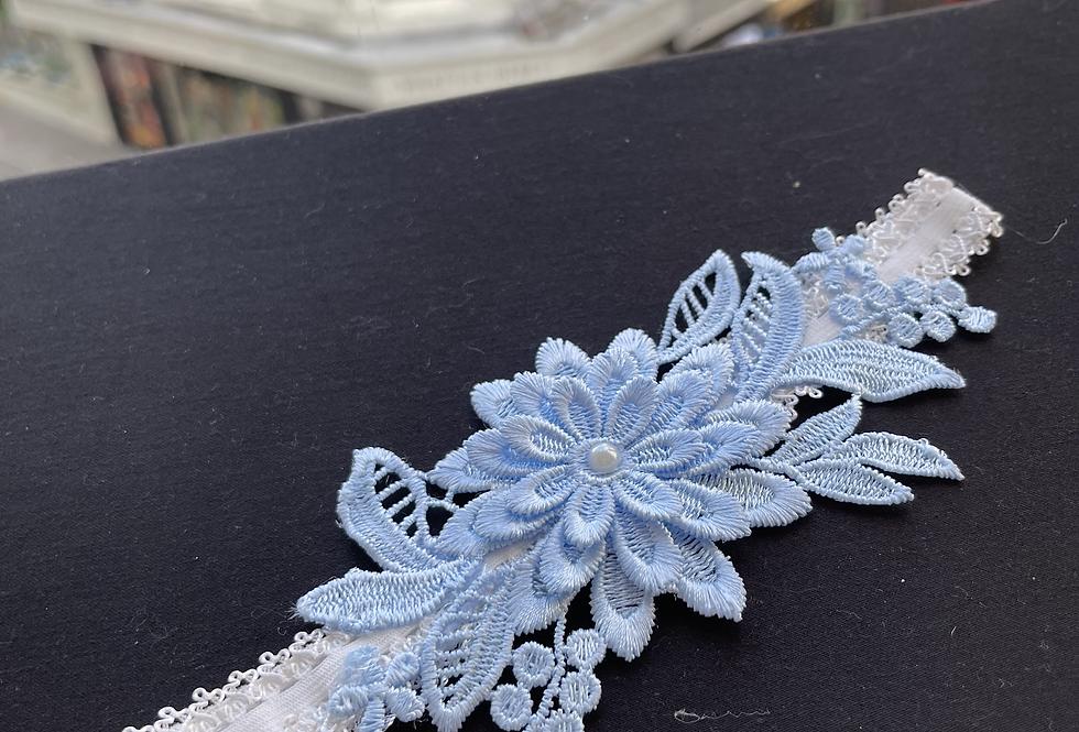 Blue Flower Lace Garter