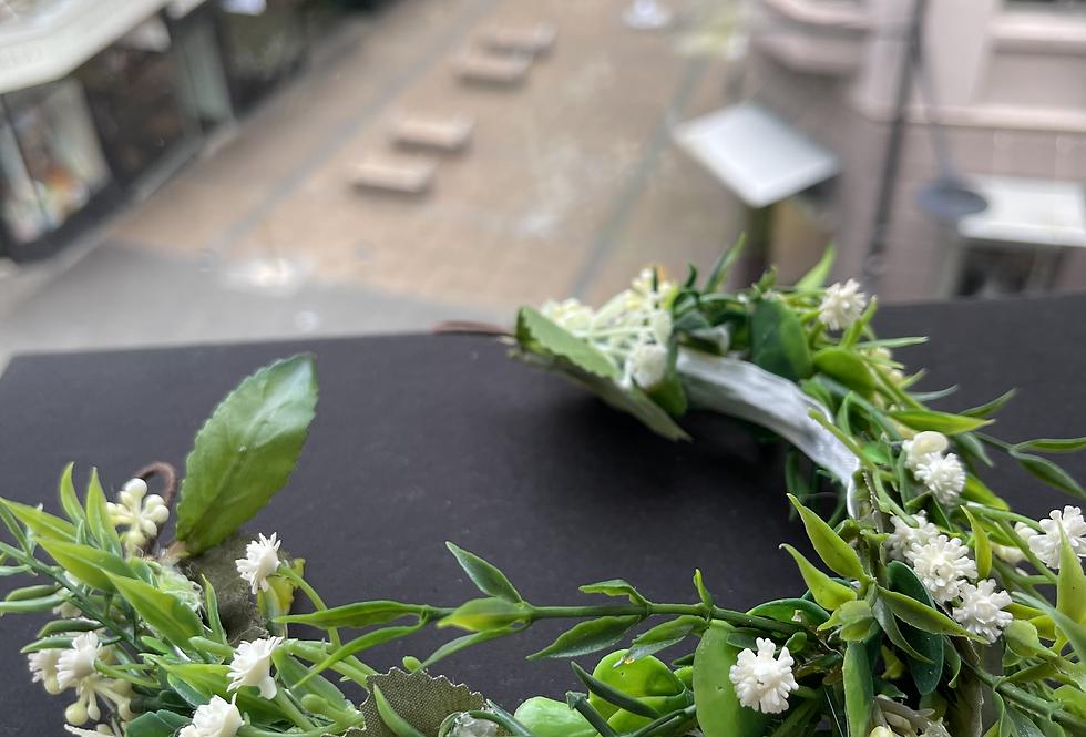 Faux Flower Crown (Green Tones)