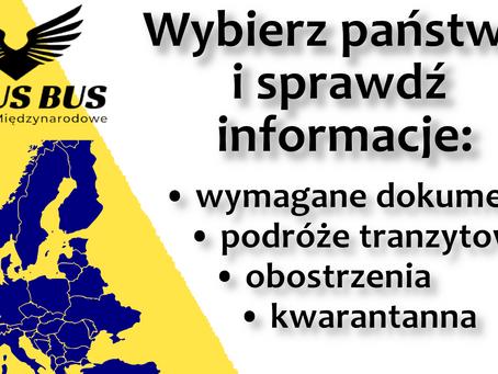 WYBIERZ kraj i SPRAWDŹ aktualne obostrzenia, ograniczenia, obowiązek kwarantanny | Timus Bus