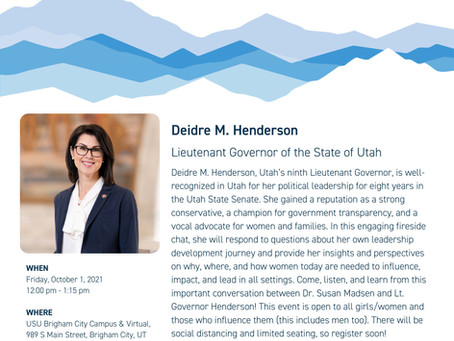 "NEWS - ""Lt. Governor Deirdre Henderson to speak on women and leadership at USU Brigham City"""