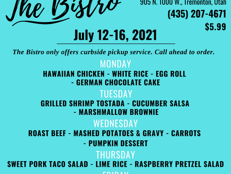 The Bistro - Daily Lunch Specials: July 12-16, 2021