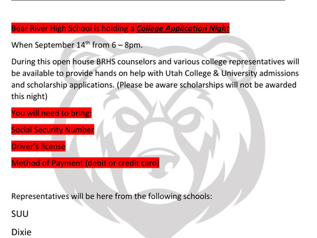 "SCHOOL - ""Bear River High College Application Night"""