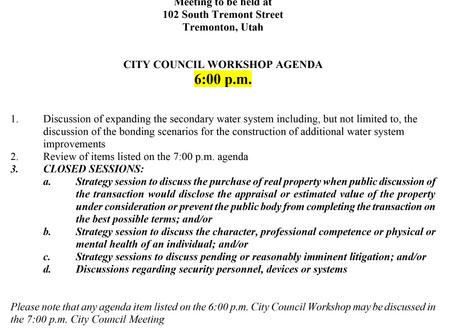 AGENDA - Tremonton City Council: September 1, 2020