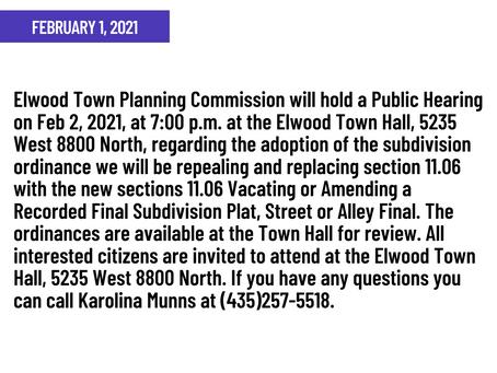 PUBLIC HEARING NOTICE - Elwood Town: February 1, 2021