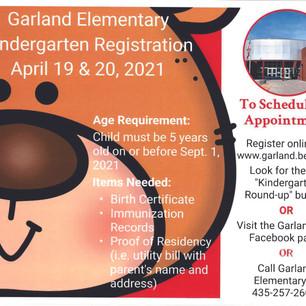 "SCHOOL - ""Calling all incoming Garland Elementary kindergarten students!"""