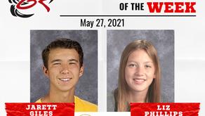 HEADLINER ATHLETES OF THE WEEK – Jarett Giles and Liz Phillips: May 27, 2021