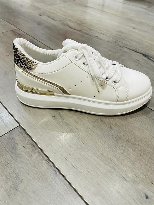 Baskets blanc/doré