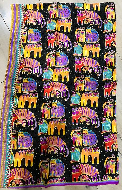 Foulard 100 % soie imprimé éléphant