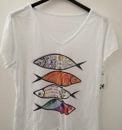 T-shirt poisson strass