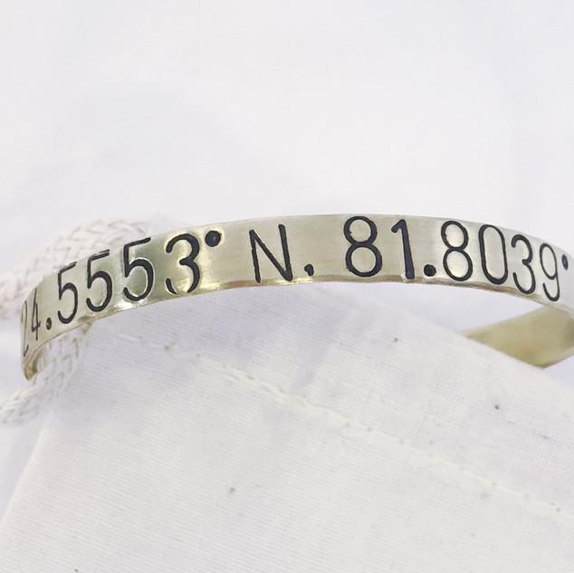 Florida Keys coordinates cuff bracelet