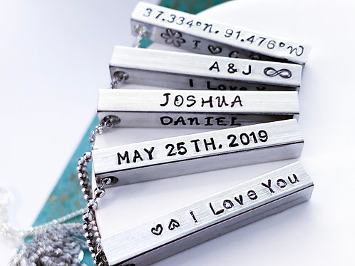 Personalized Bar Necklace, Custom Names, Dates, Coordinates
