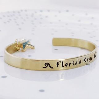 florida keys cuff bracelet with charm and pearl