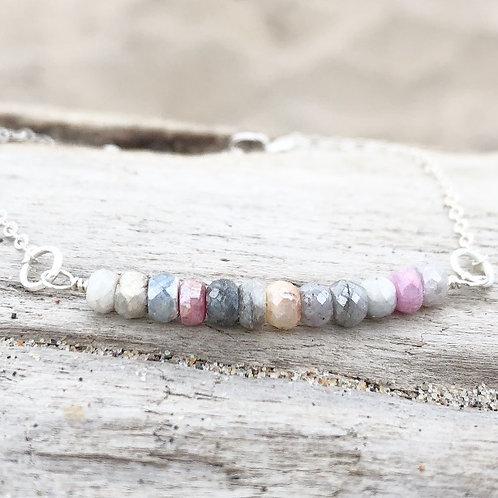 Silverite Gemstone, Pink and Gray, Bar Bracelet