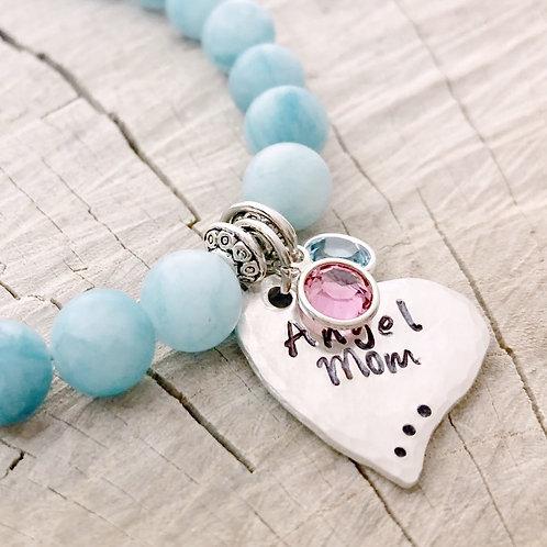Angel Mom, Aquamarine Beaded Bracelet, Sterling Silver Hammered Heart