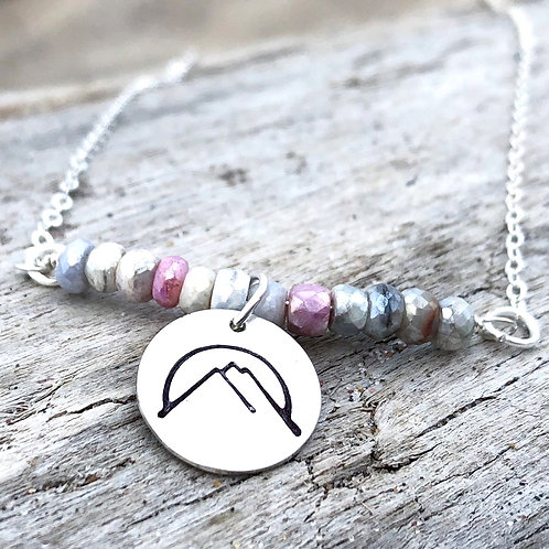 Sterling Silver, Mountain, Silverite Gemstone, Necklace, Pink and Gray
