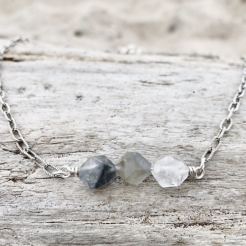 Gray Crystal Quartz, Gemstone Bar Necklace