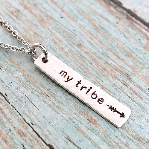 My Tribe Necklace - Sterling Silver Hammered Bar
