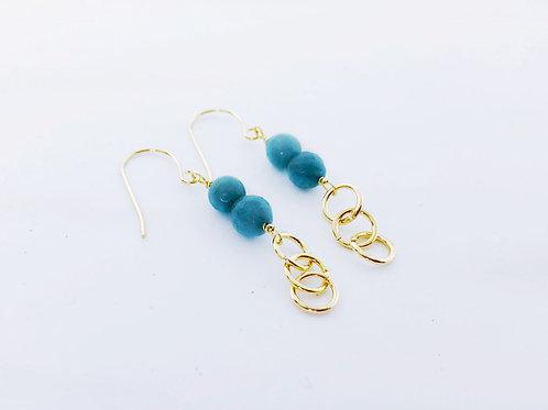Blue Jade, Beaded Earrings - Gold