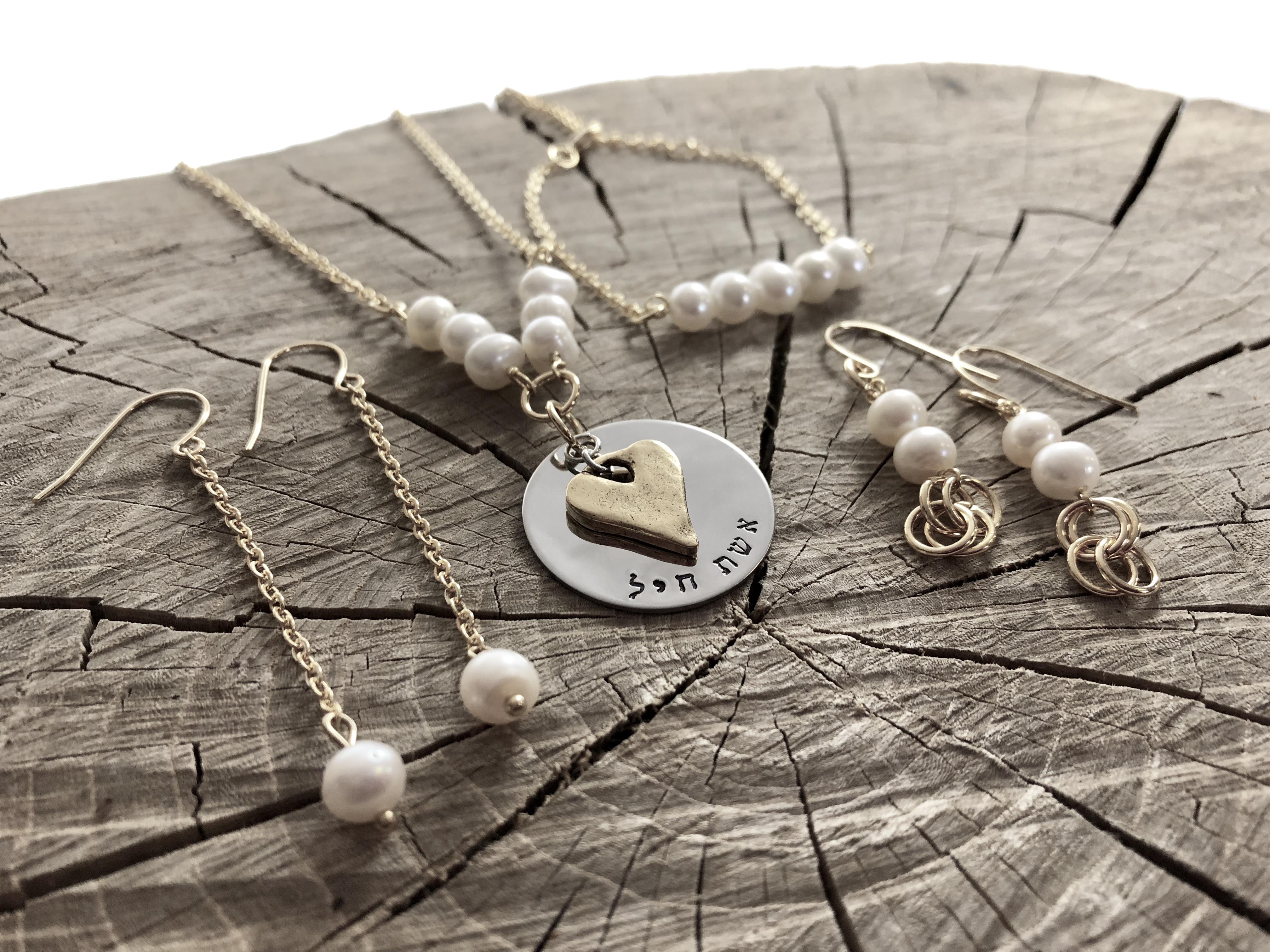 golden heart eshet chayil pearl necklace set 3