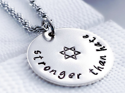 Stronger Than Hate Sterling Silver Jewish Necklace