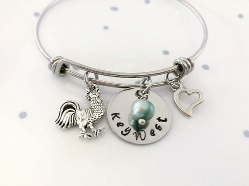 Charm Bracelet, Key West, Chicken, Adjustable, Bangle