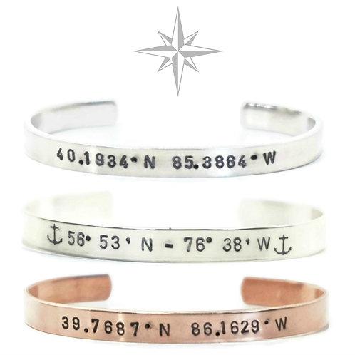 Custom Coordinates Bracelet, Unisex, Personalized Jewelry