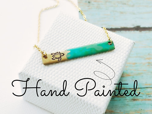 Turtle Release Bar Necklace with Painted Ocean