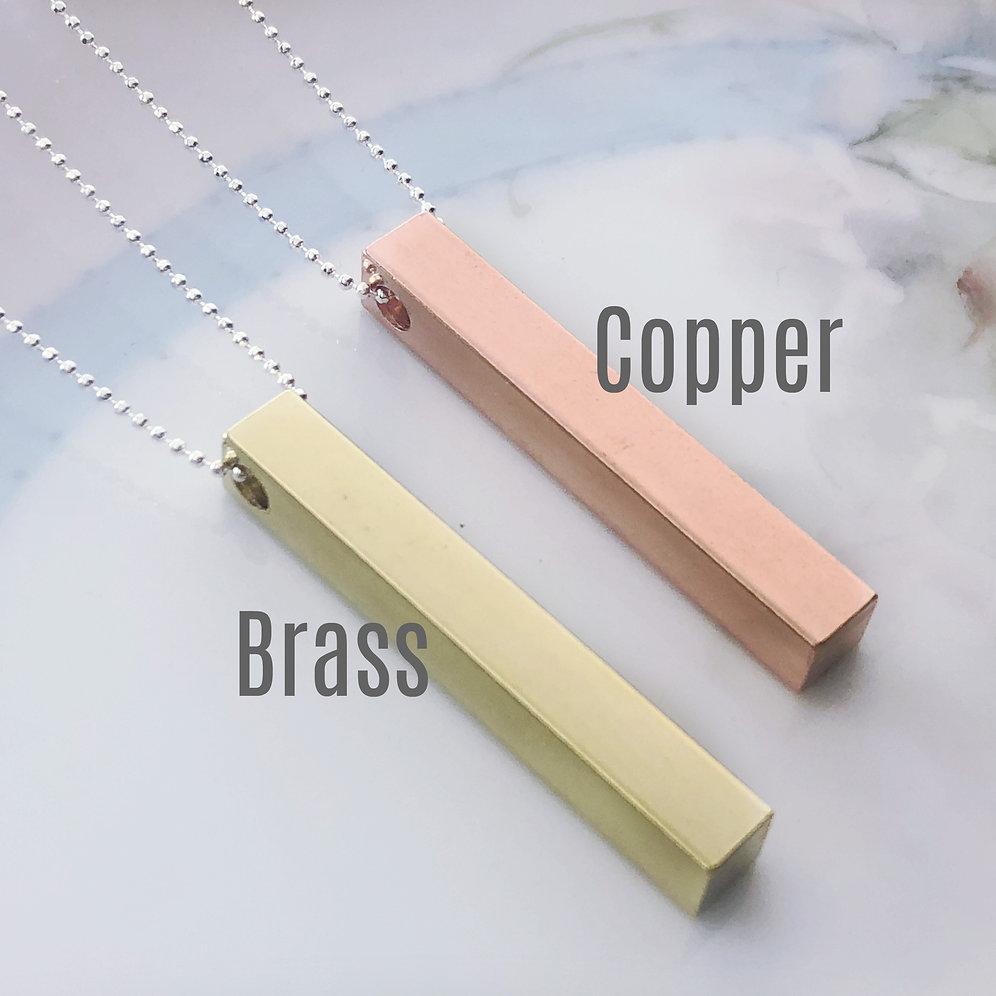 9223017bafecc Personalized Bar Necklace, Brass, Custom Names, Dates, Coordinates