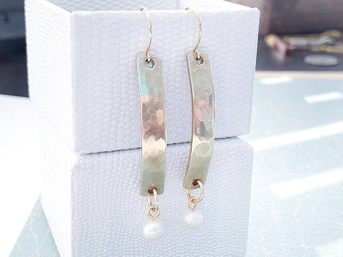 Hammered Gold Bar Earrings with Pearl