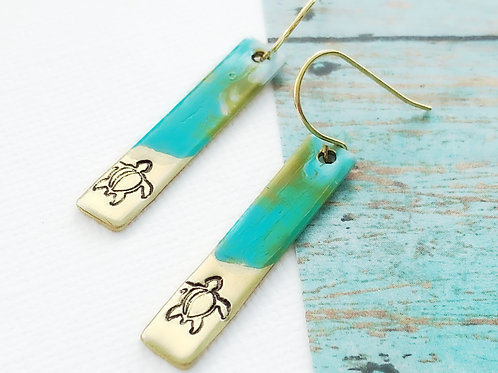 Turtle Release Bar Earrings with Painted Ocean