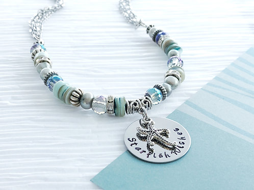 Ocean Dreams Beaded Necklace with Beach Pendant